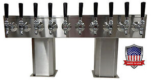 Stainless Steel Draft Beer Tower Made In Usa 10 Faucet Air Cooled Ptb 10ss op