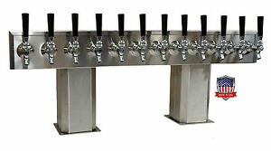 Stainless Steel Draft Beer Tower Made In Usa 12 Faucet Air Cooled Ptb 12ss op