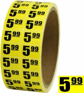 5 99 6 Sale Discount Price Labels Stickers Day glo Yellow 75 x 5 Store Use
