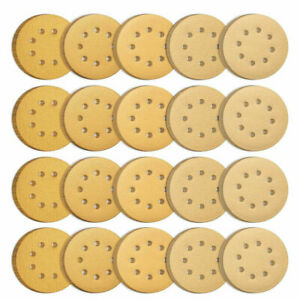 100X 5'' 60 80 120 150 220Grit Hook Loop Sanding Disc Orbital Sander paper Sheet