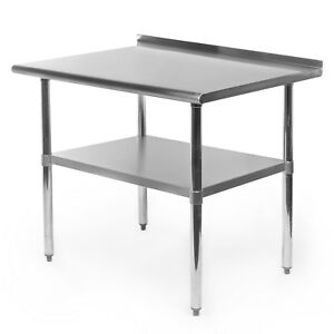 Stainless Steel Kitchen Restaurant Prep Work Table With Backsplash 24 X 30
