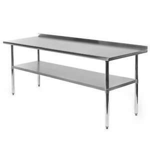 Stainless Steel Kitchen Restaurant Prep Work Table With Backsplash 24 X 72