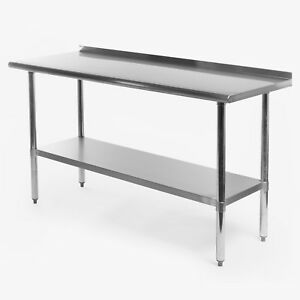 Stainless Steel Kitchen Restaurant Prep Work Table With Backsplash 24 X 60