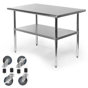 Commercial Stainless Steel Kitchen Food Prep Work Table W 4 Casters 30 X 48