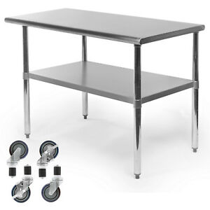 Commercial Stainless Steel Kitchen Food Prep Work Table W 4 Casters 24 X 48