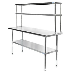 Commercial Stainless Steel Kitchen Prep Table With Double Overshelf 30 X 60