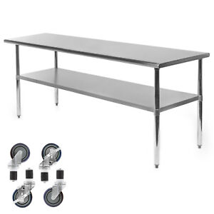 Commercial Stainless Steel Kitchen Food Prep Work Table W 4 Casters 24 X 72