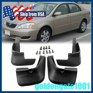 Us Black Mud Flaps Splash Guards Fender Front Rear For Toyota Corolla 2003 08 Gg