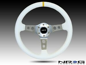 Nrg Steering Wheel 350mm Deep Dish White Leather Stitch Yellow Stripe Center