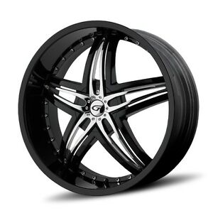 24 Inch 24x10 Gianna Blitz Black Wheel Rim 6x5 5 6x139 7 35