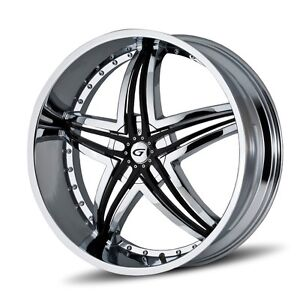 24 Inch 24x10 Gianna Blitz Chrome Wheel Rim 5x130 35