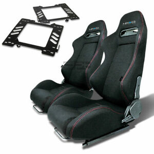 Nrg Type r Racing Seat Black Cloth silder for 99 04 Mustang Sn 95 Bracket X2