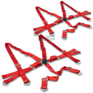 6 Point 3 Red Nylon Strap Harness Safety Adjustable Camlock Racing Seat Belt X2