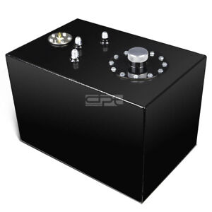 12 Gallon Top feed Black Coated Aluminum Racing Fuel Cell Tank cap level Sender