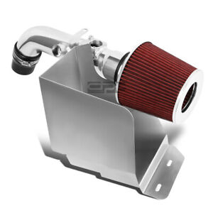 Fit 02 06 Toyota Camry I4 2 4 Aluminum 4 cold Air Intake red Filter heat Shield