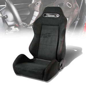1x Suede Type R Reclinable Sports Racing Seats Universal Slider Driver Left Side