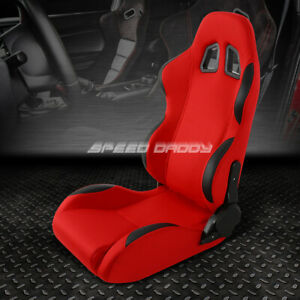 Full Reclinable Red black Fabric Racing Seat adjustable Slider Driver Left Side