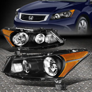 For 2008 2012 Honda Accord Pair Black Housing Amber Corner Headlight Lamp Set