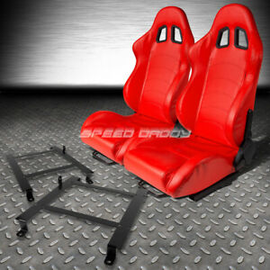 Red Pvc Leather Reclinable Racing Seats Low Mount Bracket For 97 04 Corvette C5