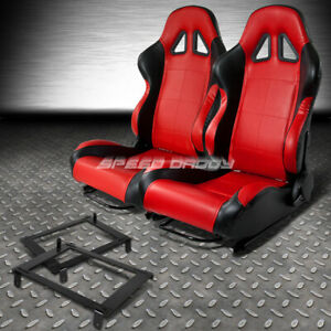 2 X Red Black Pvc Leather Racing Seat Low Mount Bracket For 02 06 Dc5 Acura Rsx