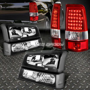 Black Headlight Clear Bumper Chrome Red Led Tail Light For 03 07 Chevy Silverado