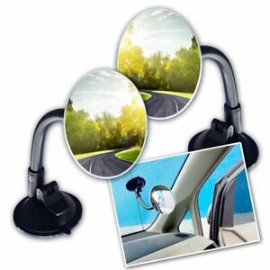 Zone Tech 2 Adjustable Round Blind Spot Mirror Long Arm Suction Angle Rear Lens