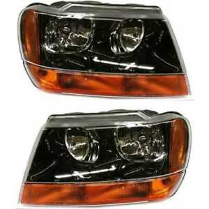 Front Pair 2 Head Lamp Assembly W O Bulb Fits 99 2002 2004 Jeep Grand Cherokee