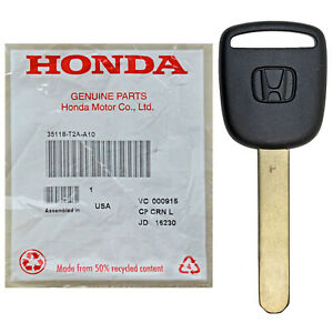 Oem Transponder Chipped Ignition Replacement Key Blade Logo For Honda Ho05pt