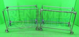 Lot Of 2 Stainless Steel Rolling Cart Rack Table no Tops 2