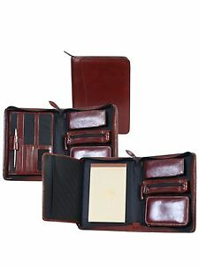New Scully Leather Zip Business Travel Organizer With Writing Pad