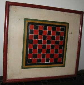 Antique Desirable Wooden Gameboard Checkerboard Old Paint Multiple Colors
