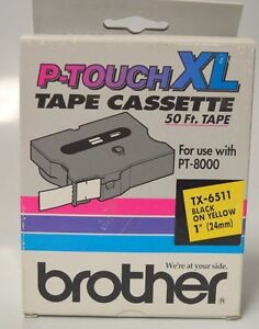 Brother P touch Xl Tape Cassette 50 x1 Tx 6511 For Pt 8000 Black On Yellow