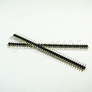 Us Stock 10pcs 2 54mm Male 40 Pin Single Row Round Header Strip Gold Plated New