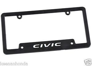 Genuine Oem Honda Lifestyle Collection Black Civic License Plate Frame Plastic