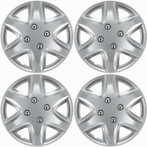4 Pc Hubcaps Fits 04 15 Chevy Aveo 14 Silver Replacement Wheel Rim Cover
