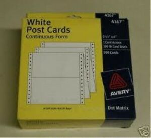 Avery 4166 White Index Cards 1000 Cards Continuous Form