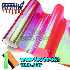 extra Wide Chameleon Neo Chrome Red Headlight Taillight Sticker Tint Film