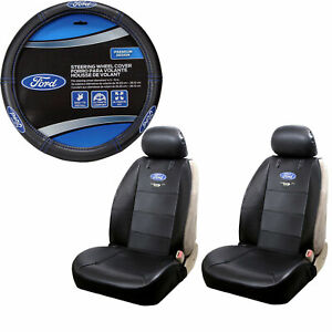 Ford Mustang Synthetic Leather Car Truck Front Seat Covers Steering Wheel Cover