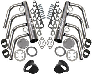 New Sbf Lake Style Header Kit 351 Cleveland 2 Barrel 351c 3 1 2 Black Turnouts