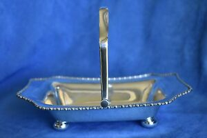 Antique 514 Grm English Sterling Silver 1896 Atkins Brothers Hinged Bread Basket