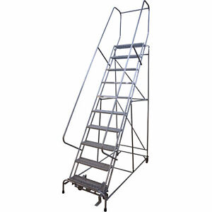 Cotterman Rolling Steel Ladder 450 lb Capacity 10 step Ladder D046009507