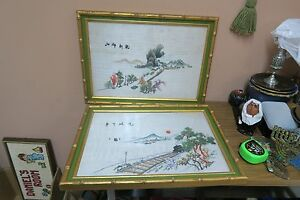 Set 2 Vintage Hand Embroidered Silk Chinese Asian Embroidery Tapestry Framed
