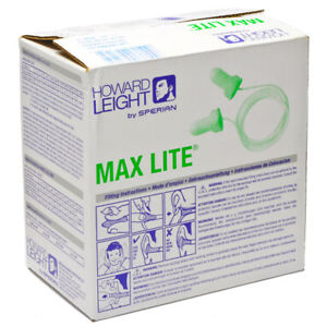 Max Lite Green Disposable Earplugs With Cord 100 bx