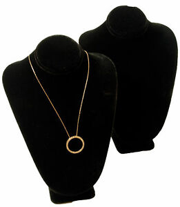 2 New 11 Black Velvet Necklace Bust Jewelry Displays