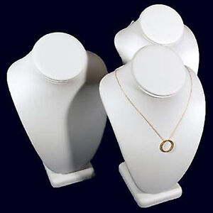 3 White Leather Necklace Jewelry Display Busts 10