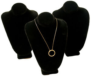 10 Black Velvet Pendant Necklace Jewelry Display Busts