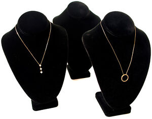 3 Black Velvet Jewelry Display Necklace Busts 7 1 2