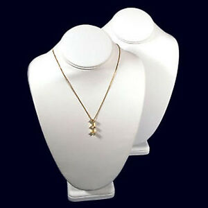 2 White Leather Necklace Jewelry Display Busts 11