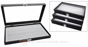 3 Glass Top Wooden Cases W White 24 Pair Earring Organizer Storage Inserts
