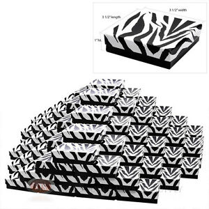 100 Zebra Print Cotton Filled Gift Boxes 3 1 2 X 3 1 2